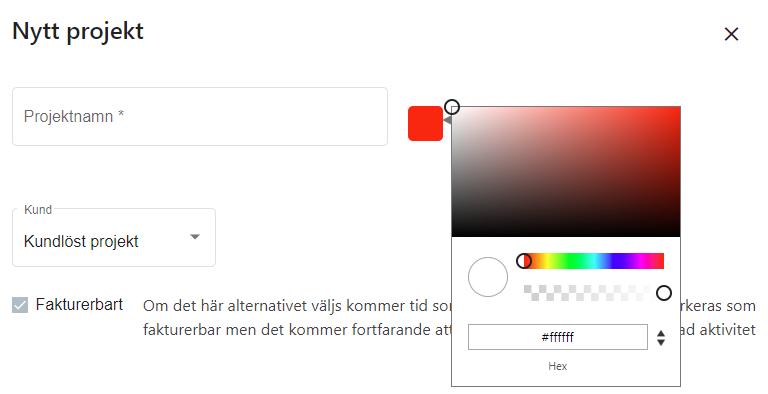 Valfri färg på projekt