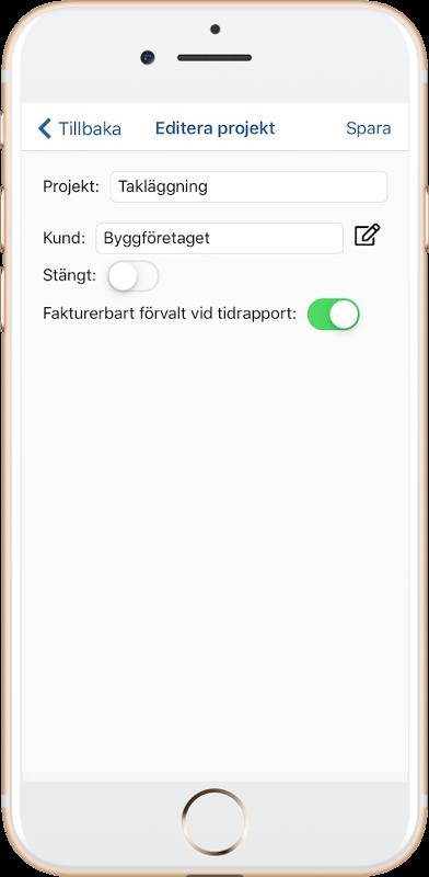 Ändra befintligt projekt i app