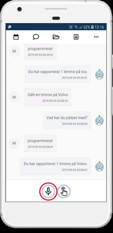 Röststyrning av tidrapporter i app