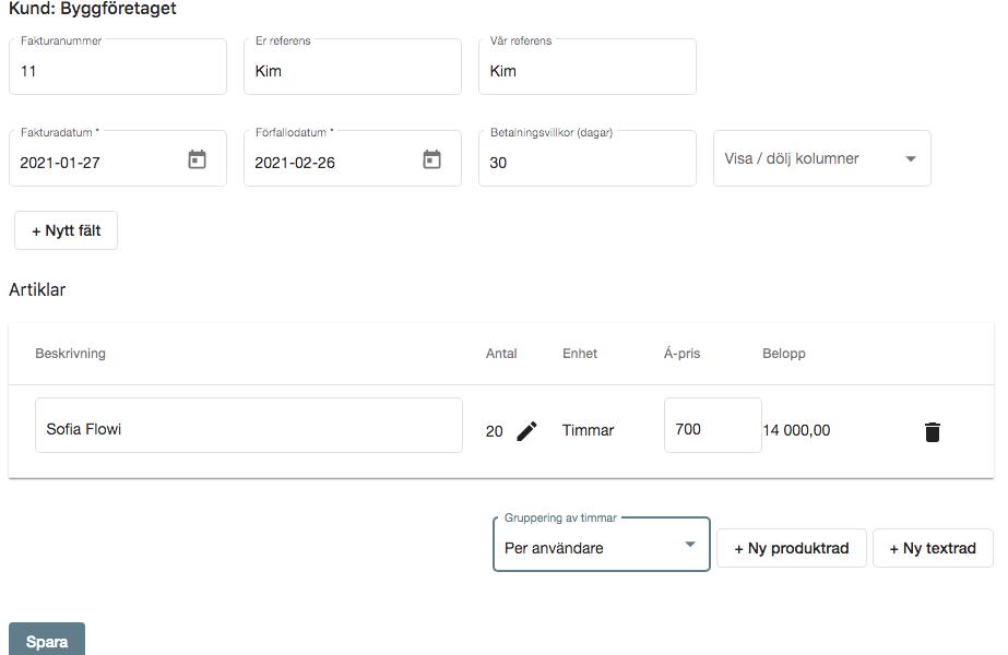 uppdatering, gruppera på användare, faktura
