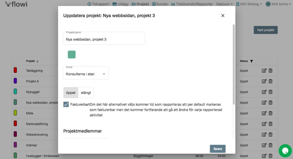 Registrera projekt i app och webb